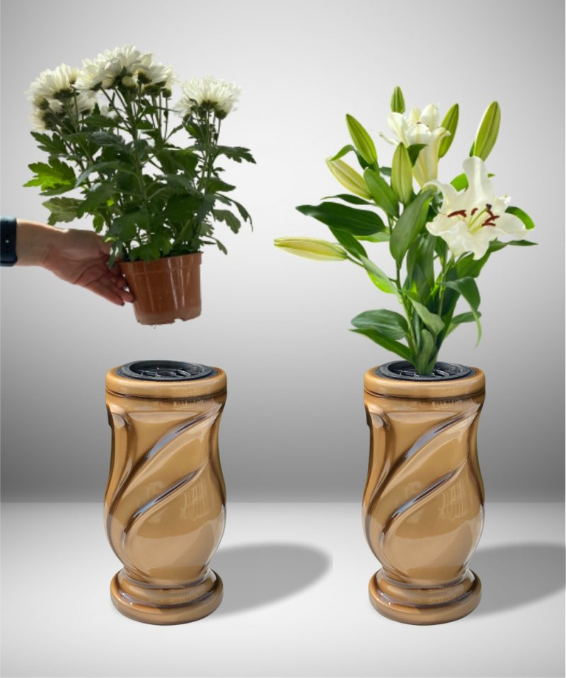 Vaza kapams lapai auksinė 3