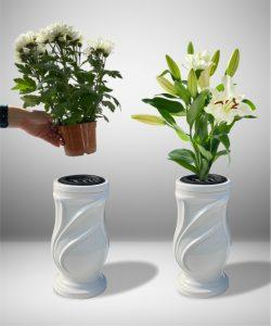 Vaza kapams lapai balta 3
